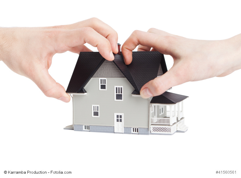 Real estate concept - two hands trying to divide house, isolated