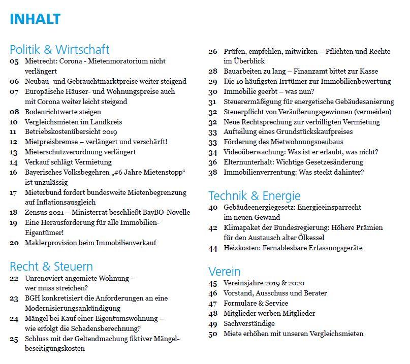 Inhaltsverzeichnis 2020